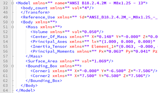 Mass properties data extraction