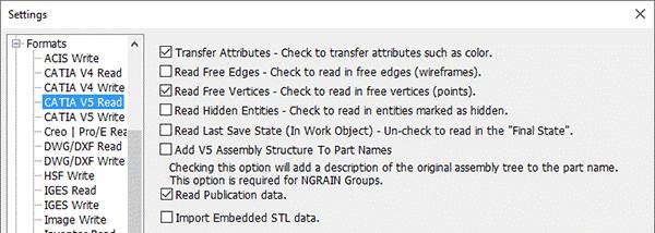 catia read settings