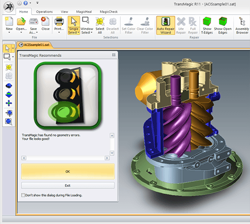 Diagnostic Tools for CAD Files - The green light means the file is a watertight solid.