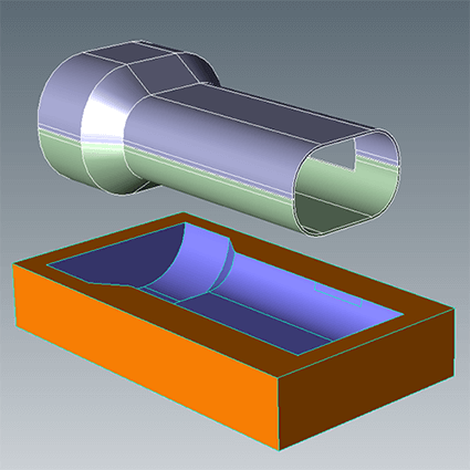 Boolean subtractions can be performed between two models for mold cavity development.