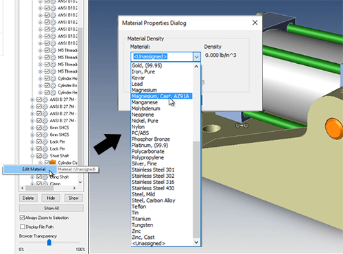 Editing materials is now more intuitive and can be applied to components of an assembly for overall mass and centroid.