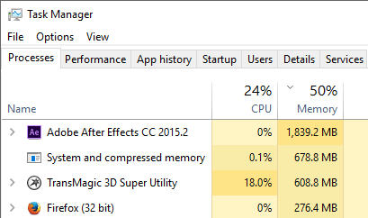 Checking Task Manager for RAM Usage