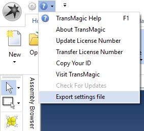 Export Settings File for TransMagic
