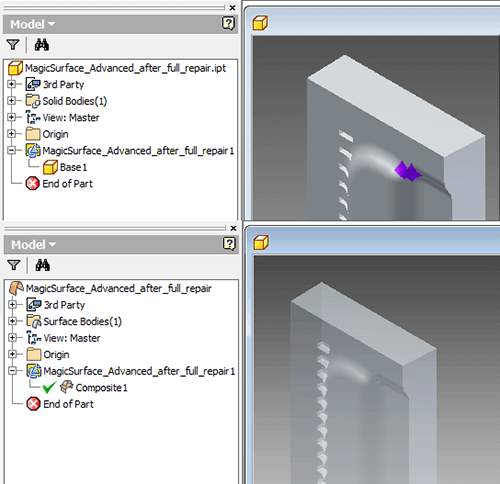 Opening an IGES file in Inventor.