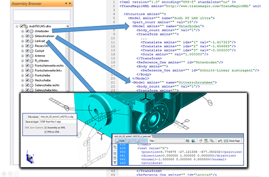 Extracted XML data can include PMI data, parts and mass properties.