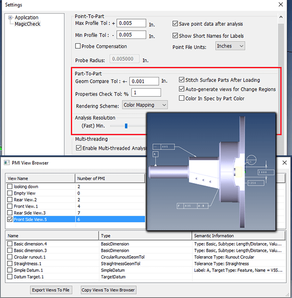 Validation tolerances are often based on PMI. Inset - PMI View Browser.