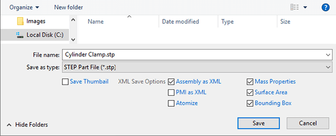 XML Save Options