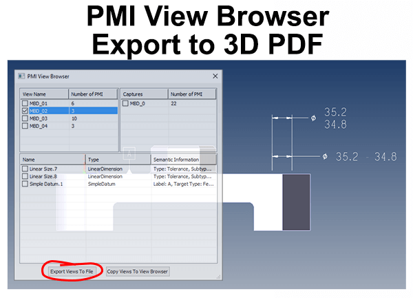 pmi export to 3d pdf