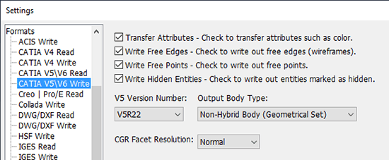 CATIA V5 Write Settings