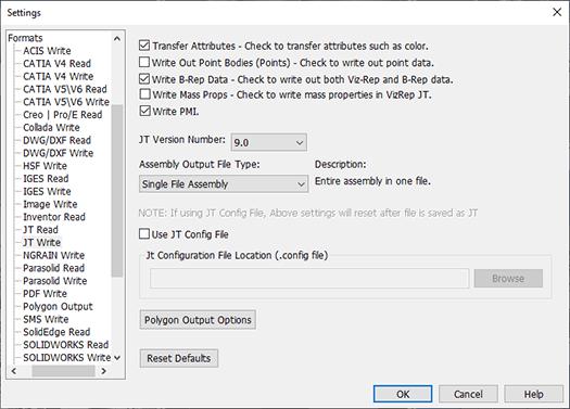 CAD File Converter Settings